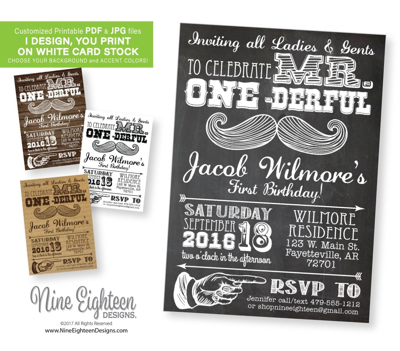 Gmail theme gallery - Babies 1st Birthday Invitation Mr Onederful Mustache Theme Custom Personalized Pdf Jpg