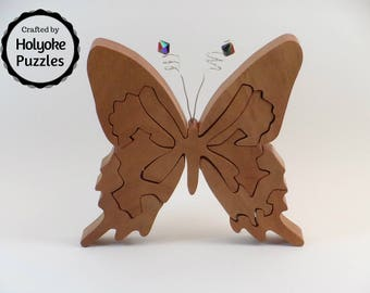 Butterfly JIgsaw Puzzle in Cherry with Crystal Antenna