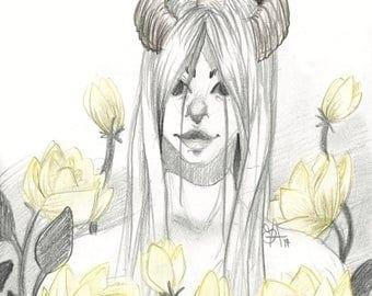 Horns + Flowers | A5 Print