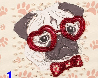 Dog fridge magnet DIY bead embroidery needlework kit