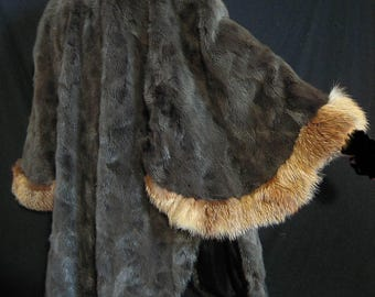 Real fur coat jacket cape poncho cloak mink with fox