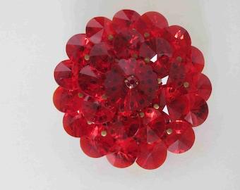 Beautiful Vintage Ruby Rivoli Rhinestone Brooch