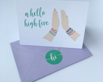Hello note card. High five. Friendship bracelets. Greeting card with lilac envelope. A6. Blank inside.