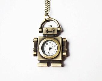 Bronze Robot Watch Necklace - 1 PC