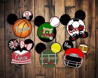 Custom Disney Cruise sports Mickey Ears Disney Cruise Magnet Basketball Soccer Baseball Football Tennis cheerleader magnet