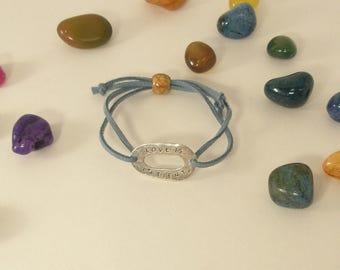 """Suede Cord Bracelet """"Love Is Patient"""" metal tag bracelet adjustable blue suede cord bracelet inspirational jewelry expandable charm bracelet"""