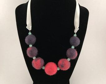 Felted wool necklace     wool beads with ribbon closure     pink and lilac-gray ombre