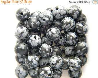 HALF PRICE 10 Snowflake Obsidian Beads - 10mm