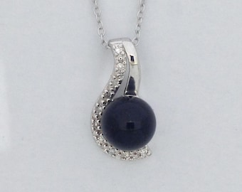 Black Onyx with Natural Diamond Pendant 925 Sterling Silver
