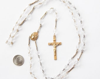 Vintage Rosary With Clear Glass Beads And Chased Link Segments