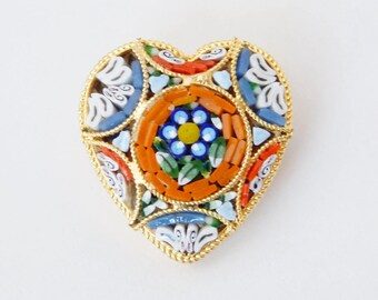 Micro Mosaic Heart Pin - Orange Red Blue Green White