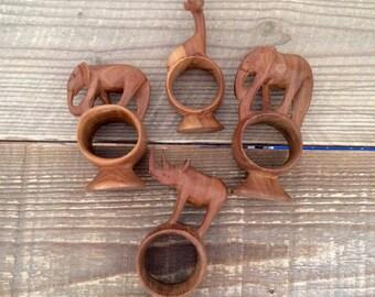 Set of 4 Vintage Wood Safari Animal Napkin Rings