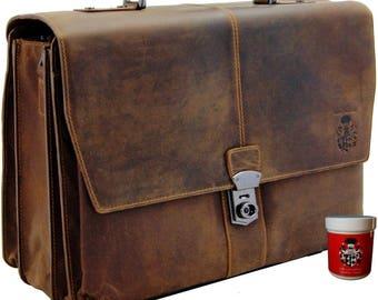 Briefcase - Mens top handle bag PLATON - brown Grassland-Leather - BARON of MALTZAHN