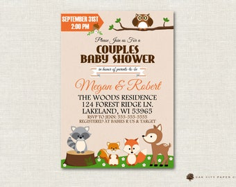 Couples Baby Shower Invitation, Woodland Baby Shower Invitation, Woodland Parents to Be Baby Shower Invitation, Instant Download, Editable