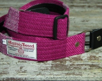 Harris Tweed bold check pink gutar strap, OOAK, gift for her, musician gift, band