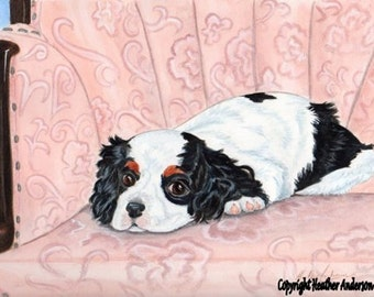 "Cavalier King Charles Spaniel, ""The Young Prince"",  original 8 x 10 painting, colored pencil over watercolor"" Heather Anderson dog artist"