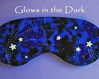 Eye Sleep Mask, Cotton Blue Stars in Space Galaxy Glow in the Dark Gift UK made