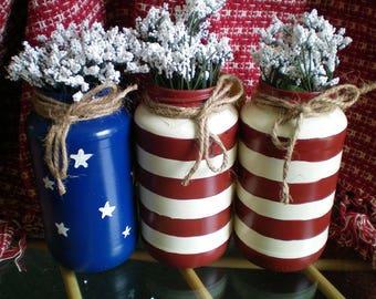 "Handpainted ""Stars & Stripes"" Jars~ Floral Arrangements"