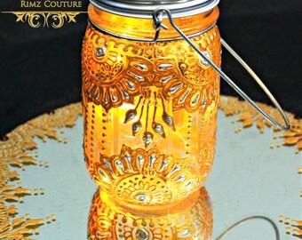Bohemian Mason Jar Lantern Hand Painted with LED light setting. Henna Inspired Home decor. Outdoor Decor Lamp. Wedding Centrepieces