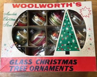 Set of 12 Glass Ornaments Shiny Brite