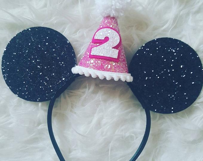 Glittery Mouse Ears Headband   Birthday Ears   Minnie Mouse Birthday   Minnie Mouse Headband   Minnie Ears   Mickey Mouse Birthday   Minnie