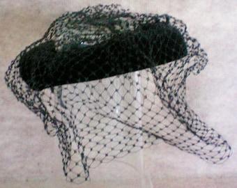 Open Top 1950's Black Velvet Hat with Veil - 5031