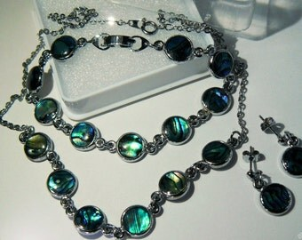 Abalone Paua Shell 3-pcs Set Necklace Bracelet Earrings Silver Tone