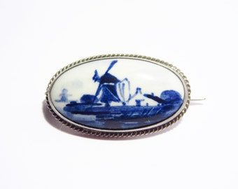 Vintage Blue & White Delfts Windmill Oval Brooch