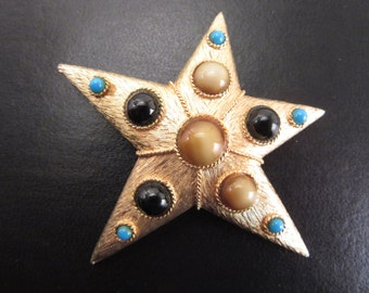 Vintage Signed Capri Star Brooch Faux Glass Stones 60s