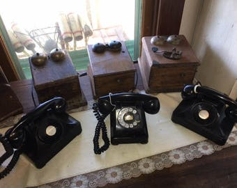 Antique Western Electric Company Original Telephone, 1940's With ringer Box, Three to choose from