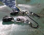 Labradorite Silver Triangle Earrings, Mixed Metal Labradorite Earrings, Oxidized Silver Earrings, Niobium Earrings, River of Beauty Designs