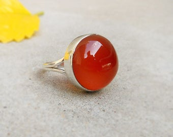 Red Onyx Ring 925 Sterling Silver Ring Round Bezel Ring Red Onyx Gemstone 925 Silver Ring Red Stone Ring Healing Stone Ring Size 8
