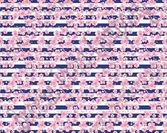Pink cherry blossom floral with navy stripes craft  vinyl sheet - HTV or Adhesive Vinyl -  flower pattern vinyl  HTV2242
