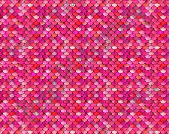 Red and pink mermaid scales print craft vinyl sheet - HTV or Adhesive Vinyl -  HTV3153