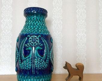 Vintage retro 1970s West Germany vase Bay Keramik Pottery Fat Lava 961-30