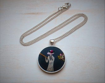 Woman Fishing Hand Embroidered Pendant Necklace