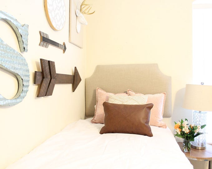 Dorm Twin Headboard, Clipped Corner Headboard, Dorm Headboard,  Linen Headboard, Dorm Room Headboard, Dorm Decorations