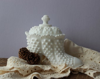 Fenton Hobnail Milk Glass Shoe Candy Dish