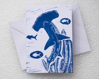 Card Lino Print / Hammerhead Shark A6