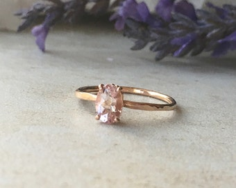 Rustic Deisgn 7x5 mm Genuine Morganite Oval Cut - solid 14K Rose Gold Hammered Band - Fleur de lis Setting - Engagement Ring