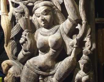 "Carved Wood Sculpture India Indian Hindu Dancing Woman Goddess 10x20x3"""