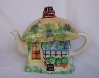 TEAPOT ~  The Tea Shop with Thatched Roof,  Tony Carter, Made in Suffolk, England