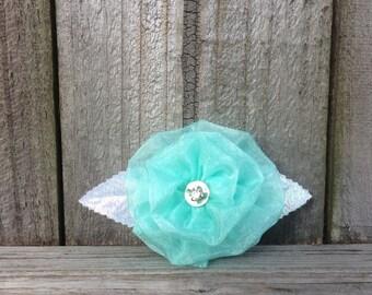 Mint Green Hair Clip, Mint Green Hair Bow, Seafoam Green Hair Clip, Green Flower Hair Accessory, Green Hair Clip, Mint Wedding
