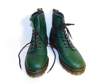 On Sale~Uk 6~ Dr. Martens 1460s Soft GreenLeather- Made in England -size 6 UK=size 7 US Mens = size 8 to 8.5 US Women