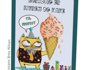 1 stk. bursdag/kunstkort med illustrasjon av Susann Brox Nilsen. Doble med konvolutt. NORSK tekst. Cats, kittens, greeting card, funny, kids