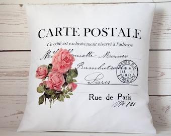 "Carte Postale Rose - 16"" Cushion Pillow Cover Shabby Vintage Chic - UK Handmade"