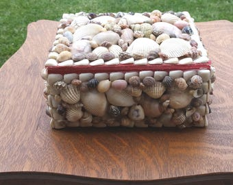 Shell Encrusted Box Large Vintage for Sea Beach Home Decor Jewelry Box