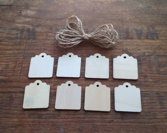 Medium Wooden Tags w/scalloped edge and jute for hanging. Package of 8 tags. Rectangle shaped. Unfinished. Wood Tags. Unfinished Wood Tags.