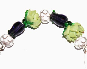 Glass Lampwork Bead Assortment Strand for Jewelry Making: Green Artichoke, Purple Eggplant, Clear/Lavender with White Polka Dot Rondelle