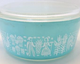 Pyrex Butterprint Amish Turquoise Casserole Dish 475